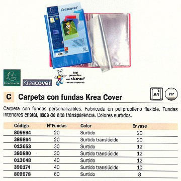 ENVASE DE 12 UNIDADESEXACOMPTA CARPETAS FUNDAS KREA COVER 40 FUNDAS COLORES SURTIDOS POLIPROPILENO 5740E