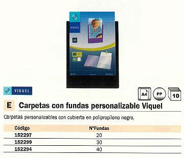 ENVASE DE 10 UNIDADES VIQUEL CARPETAS FUNDAS 30 FUNDAS A4 NEGRA 97309