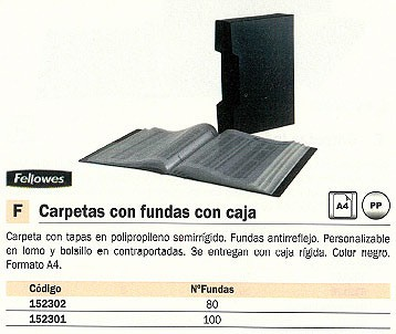 FELLOWES CARPETAS FUNDAS 80 FUNDAS NEGRA CON CAJA 40318
