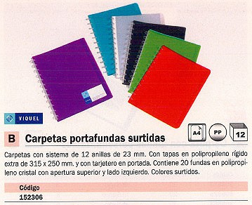 VIQUEL CARPETAS FUNDAS 20 FUNDAS A4 COLORES SURTIDOS 0464830