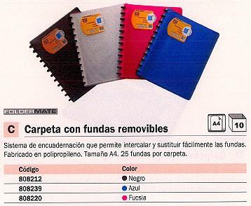 ENVASE DE 10 UNIDADES FOLDERMATE CARPETAS FUNDAS 25 FUNDAS A4 NEGRA 233-A