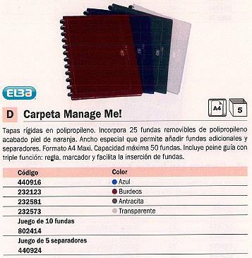ELBA CARPETAS FUNDAS MANAGE ME! 25 FUNDAS A4MAXI ANTRACITA 100205607