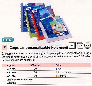 ENVASE DE 10 UNIDADES ELBA CARPETAS FUNDAS POLYVISION 20 FUNDAS A4 TRANSPARENTE 100205600