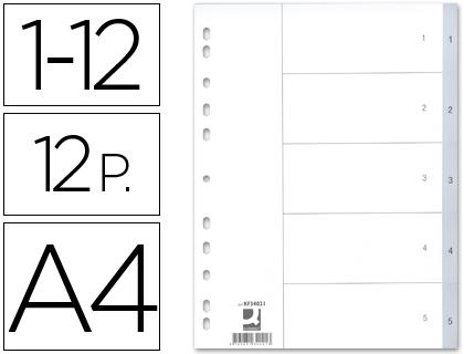Din A4 SEPARADOR NUMERICO Q CONNECT PLÁSTICO 1 12 JUEGO DE 12 SEPARADORES DIN A4 MULTITALADRO KF34023