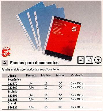 5 ESTRELLAS FUNDAS PORTADOCUMENTOS 100 UD FOLIO MULTITALADRO 400005378