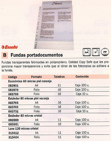 ESSELTE FUNDAS PORTADOCUMENTOS 100 UD FOLIO 16 TALADROS 50 MICRAS PIEL NARANJA 46114