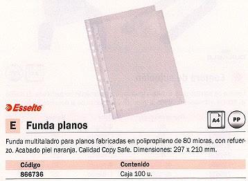 ESSELTE FUNDAS PLANOS 100 UD A4 297X210 80 MICRAS PIEL NARANJA 46100