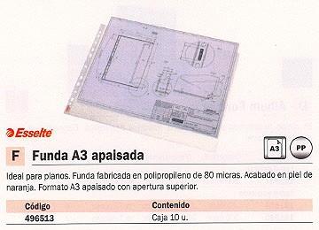 ESSELTE FUNDA 10UD A3 APAISADA PIEL DE NARANJA APERTURA SUPERIOR 47182