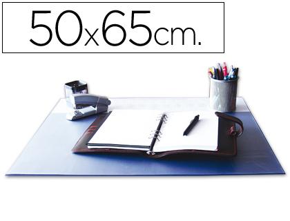 50 x 65 cm VADE SOBREMESA Q-CONNECT AZUL CON SOLAPAS TRANSPARENTES -50X65 CM