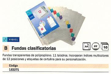 ENVASE DE 10 UNIDADES VIQUEL FUNDA CLASIFICATORIAS TRANSPARENTE A4 12 POSICIONES 11TALADROS 15431604
