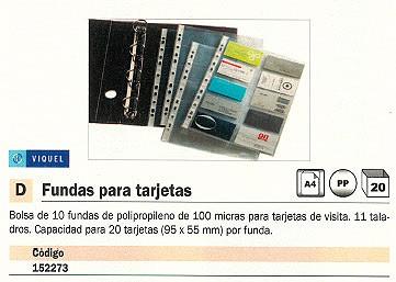 ENVASE DE 20 UNIDADES VIQUEL FUNDAS TARJETAS BOLSA 10 FUNDAS 57X95 10 POSICIONES 11 TALADROS 11621006