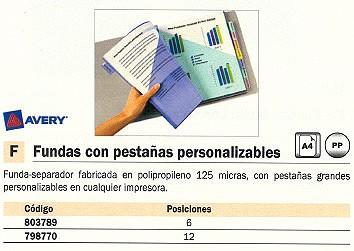 AVERY FUNDA CON PESTAÑAS PERSONALIZABLES A4 6 POSICIONES 5621501