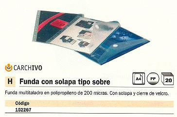ENVASE DE 20 UNIDADES CARCHIVO FUNDAS MULTITALADRO SOLAPA CIERRE VELCRO POLIPROPILENO 345KE