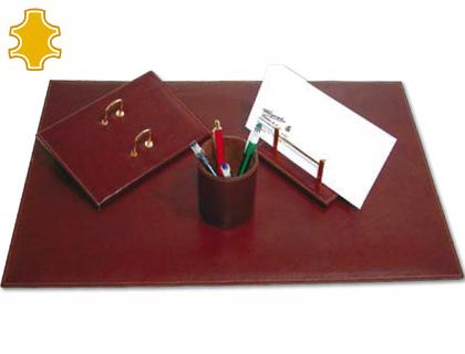 Organizacion personal MARCA BLANCA ESCRIBANIA DE SOBREMESA ARTESANIA DE PIEL JUEGO DE 4 PIEZAS MEDIDAS 40X60X0,6 CM.
