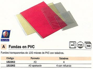 ENVASE DE 50 UNIDADES IBERPLAS FUNDAS A3 APAISADO 4 CON REFUERZO PVC 220A50