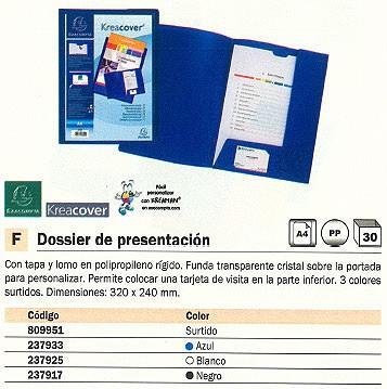 ENVASE DE 30 UNIDADES EXACOMPTA DOSSIER DE PRESENTACION A4 CARTONCILLO CON FASTENER CON LOMO AZUL 43502E