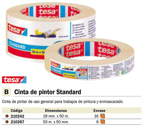 ENVASE DE 6 UNIDADES TESA CINTAS PINTOR 50 MMX50M PARA TRABAJOS DE PINTURA 05089-00000-02