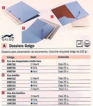 Dossiers troquelados GALGO DOSSIERS A4 2 TROQUELADOS MEDIA LUNA GRIS CARTULINA VERJURADA 096733