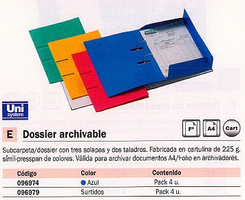 PACK 4 DOSSIER ARCHIVABLE FORMATO FOLIO SURTIDO 96979