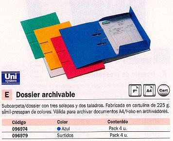 PACK 4 DOSSIER ARCHIVABLE FORMATO FOLIO SURTIDO 96979