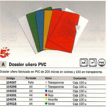5 ESTRELLAS DOSSIER CAJA 100 UD A4 PVC CON UÑERO TRANSPARENTE 150 MICRAS 72100-SPICER