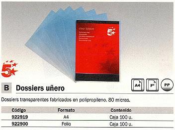 5 ESTRELLAS DOSSIER CAJA 100 A4 POLIPROPILENO CON UÑERO TRANSPARENTE 80 MICRAS 400005406