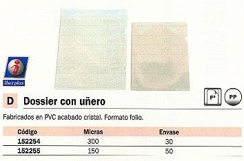 ENVASE DE 50 UNIDADES IBERPLAS DOSSIER FOLIO PVC CON UÑERO ACABADO CRISTAL 15024950