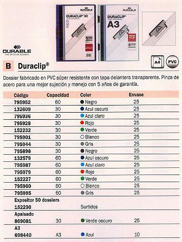 ENVASE DE 25 UNIDADES DURABLE DOSSIERS CLIP DURACLIP CAPACIDAD 60 HOJAS A4 GRIS PVC 795995