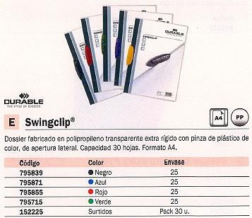 DURABLE DOSSIERS CLIP SWINGCLIP PACK 25 UD CAPACIDAD 30 HOJAS A4 COLORES SURTIDOS POLIPROPILENO 2261
