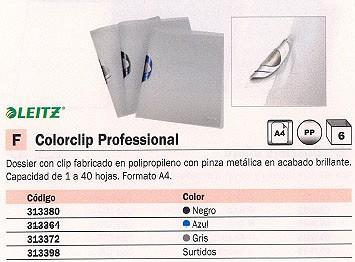 ENVASE DE 6 UNIDADES LEITZ DOSSIERS CLIP COLORCLIP PROFESSIONAL CAPACIDAD 40 HOJAS A4 GRIS POLIPROPILENO 41660039