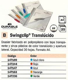 ENVASE DE 25 UNIDADES DURABLE DOSSIERS CLIP SWINGCLIP TRANSLUCIDO CAPACIDAD 30 HOJAS A4VERDE POLIPROPILENO 147236
