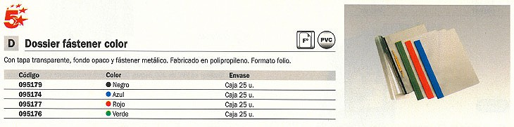 ENVASE DE 25 UNIDADES 5 STAR DOSSIER FOLIO POLIPROPILENO CON FASTENER NEGRO 95179