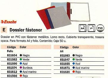 ESSELTE DOSSIER CAJA 50 UD FOLIO PVC CON FASTENER VERDE 13205