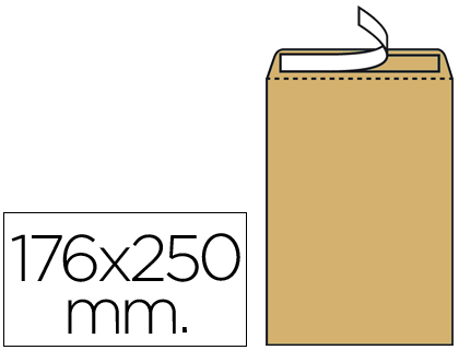 Sobres bolsas de papel LIDERPAPEL BOLSA N.14 KRAFT B5 176X250 MM TIRA DE SILICONA CAJA DE 500 UNIDADES