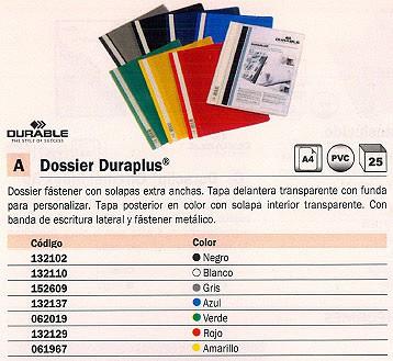 ENVASE DE 25 UNIDADES DURABLE DOSSIERS DURAPLUS A4 FASTENER METALICO BLANCO PVC 2579-02