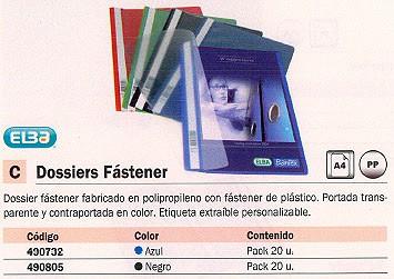 ELBA DOSSIER PAQUETE 20 UD A4 CON FASTENER NEGRO 100550195