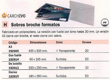 ENVASE DE 50 UNIDADES CARCHIVO SOBRE POLIPROPILENO 60X105 CON VELCRO 340K50