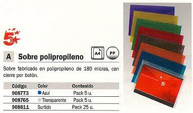 5 ESTRELLAS SOBRE POLIPROPILENO PAQUETE 5 UD A4 CON BROCHE TRANSPARENTE 908765