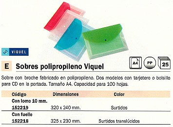ENVASE DE 25 UNIDADES VIQUEL SOBRE POLIPROPILENO 320X240 CON BROCHE COLORES SURTIDOS LOMO 10 MM 01738308