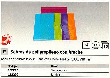 ENVASE DE 10 UNIDADES 5 ESTRELLAS SOBRE POLIPROPILENO 333X239 CON BROCHE TRANSPARENTE 42738302