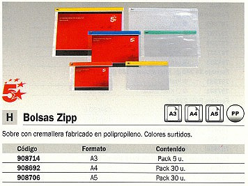 5 STAR SOBRES ZIPP PAQUETE 5 UD A3 COLORES SURTIDOS POLIPROPILENO 908714