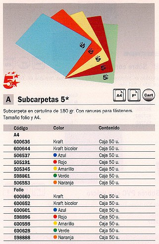 5 STAR SUBCARPETAS CAJA 50 UD FOLIO CARTULINA KRAFT 180 G 600660