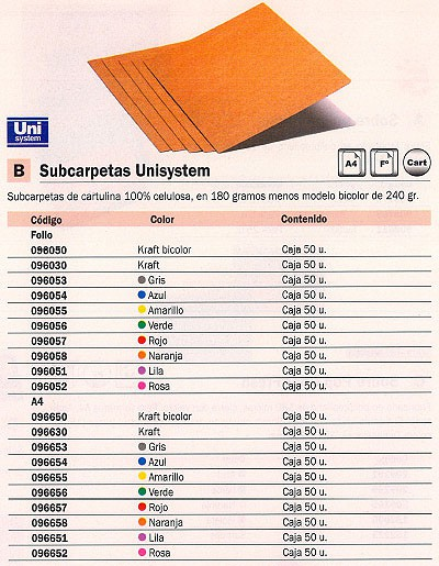 Comprar Subcarpetas cartulina 096051 de Unisystem online.