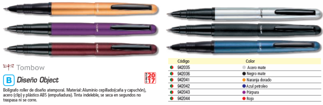 TOMBOW ROLLER OBJECT NEGRO. TINTA COLOR NEGRO. BW 1000TCB