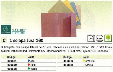 CLAIREFONTAINE SUBCARPETAS JURA 160 CAJA 100 UD A4 CARTULINA 1 SOLAPA AMARILLO 348005E