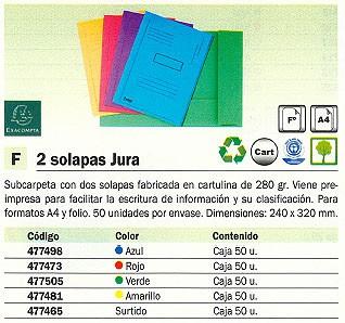EXACOMPTA SUBCARPETAS JURA CAJA 50 UD A4 CARTULINA 2 SOLAPAS ROJO 445003E