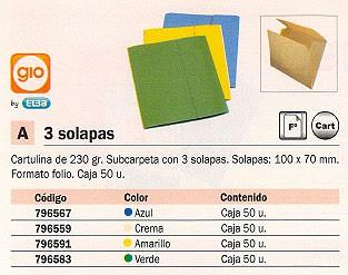 YBARRA SUBCARPETAS CAJA 50 UD A4 CARTULINA 3 SOLAPAS AMARILLO 250 G 400018764