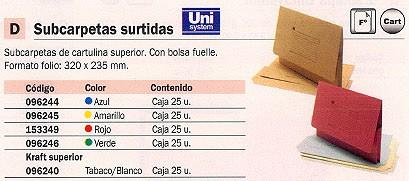 Comprar Subcarpetas con solapas 096246 de Unisystem online.