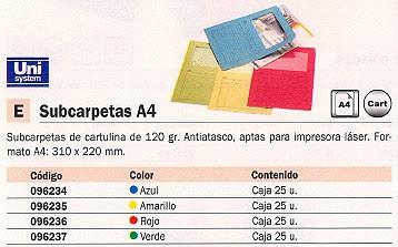 UNIPAPEL SUBCARPETAS CAJA 25 UD A4 CARTULINA CON VENTANA AZUL 120 G 096234<BR>ARTÍCULO A EXTINGUIR CONSULTAR DISPONIBILIDAD