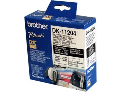 Etiquetas ETIQUETA ADHESIVA BROTHER DK11204 -TAMAÑO 17X54 MM PARA IMPRESORAS DE ETIQUETAS QL -400 ETIQUETAS-